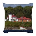 Raspberry Island Lighthouse 2 Woven Throw Pillow