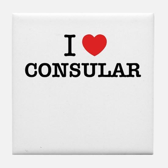 I Love CONSULAR Tile Coaster