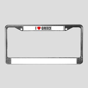 I Love Greece License Plate Frame