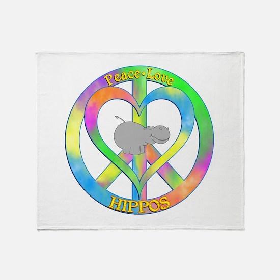 Peace Love Hippos Throw Blanket