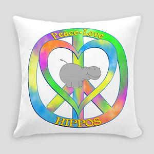 Peace Love Hippos Everyday Pillow