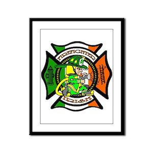Firefighter-Irish Framed Panel Print