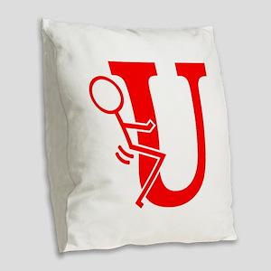 Stick Figure F U Burlap Throw Pillow