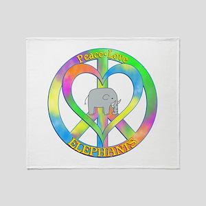 Peace Love Elephants Throw Blanket