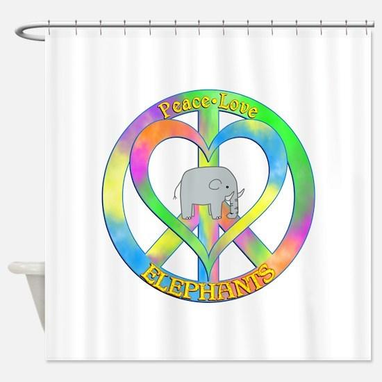 Peace Love Elephants Shower Curtain