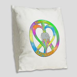 Peace Love Elephants Burlap Throw Pillow
