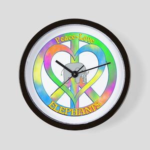 Peace Love Elephants Wall Clock