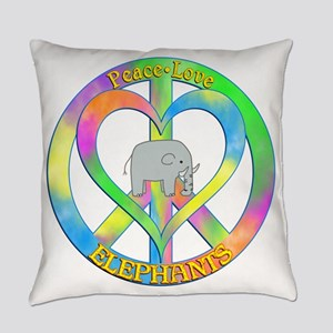 Peace Love Elephants Everyday Pillow