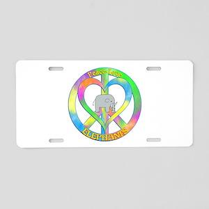 Peace Love Elephants Aluminum License Plate