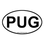 Pug Dog car euro oval sticker