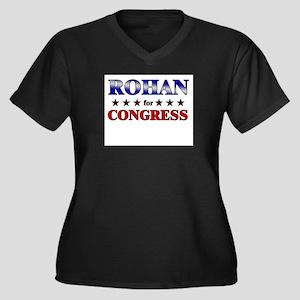 ROHAN for congress Women's Plus Size V-Neck Dark T