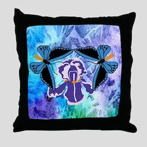 Birdwing Butterfly on Iris Throw Pillow