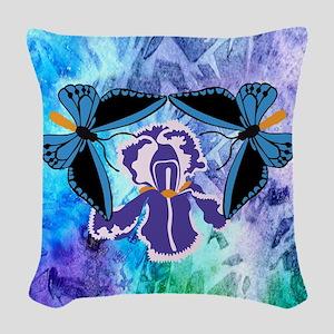 Birdwing Butterfly On Iris Woven Throw Pillow
