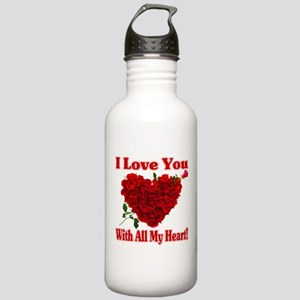 I Love You With All My Heart! Water Bottle