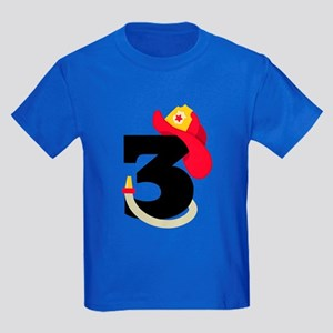 Fireman 3rd Birthday Kids Dark T-Shirt