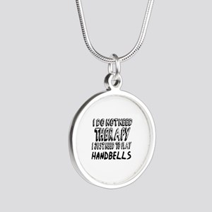 I Just Need To Play Handbell Silver Round Necklace