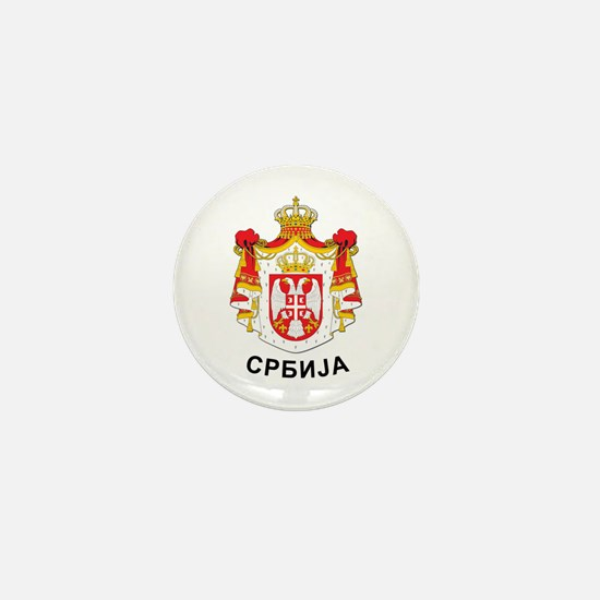 Serbia coat of arms with name Mini Button