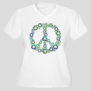 Blue Recycle Peace Plus Size T-Shirt