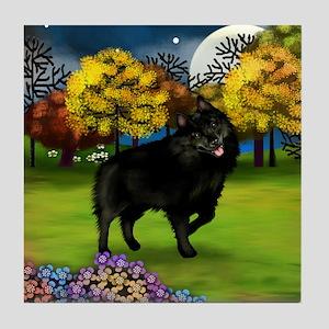 SCHIPPERKE DOG FALL Tile Coaster