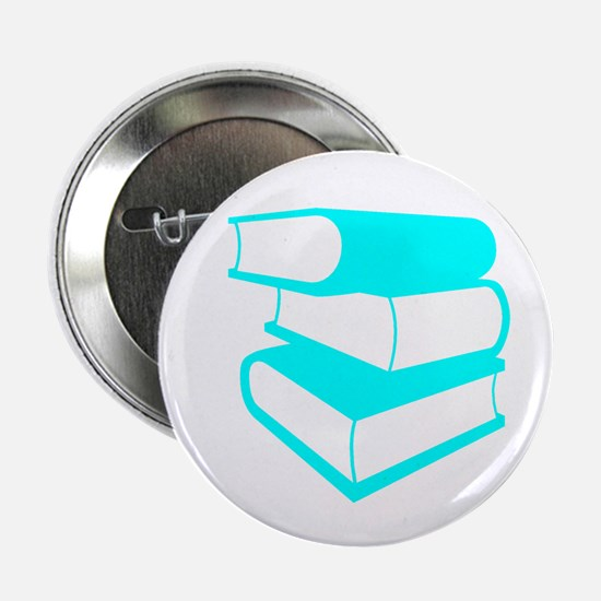 """Stack Of Cyan Books 2.25"""" Button"""