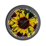 Yellow Brown Flower Wall Clock