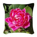 One Pink Rose Woven Throw Pillow