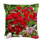 Red Roses Woven Throw Pillow