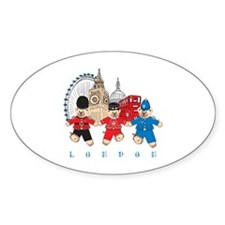 Teddy Holding Hands Oval Sticker