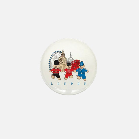 Teddy Holding Hands Mini Button