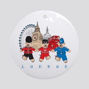 Teddy Holding Hands Ornament (Round)