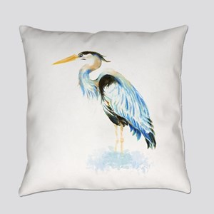 Watercolor Great Blue Heron Bird Everyday Pillow