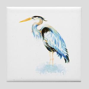 Watercolor Great Blue Heron Bird Tile Coaster
