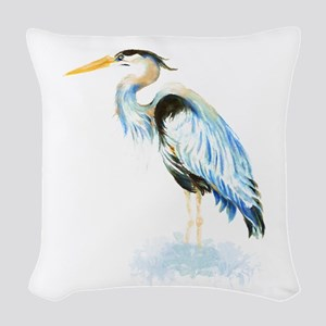 Watercolor Great Blue Heron Bird Woven Throw Pillo