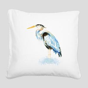 Watercolor Great Blue Heron Bird Square Canvas Pil