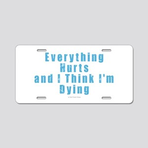 Everything Hurts Aluminum License Plate