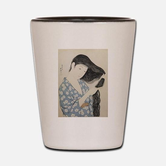 Hashiguchi Goyo - Woman in Blue Combing Shot Glass
