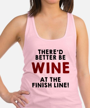 Wine at the finish line Racerback Tank Top