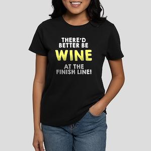 Wine at the finish line Women's Dark T-Shirt
