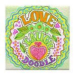 Love. Laugh. Doodle. Tile Coaster