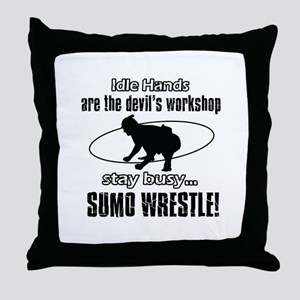 Stay Busy Sumo Wrestle Throw Pillow