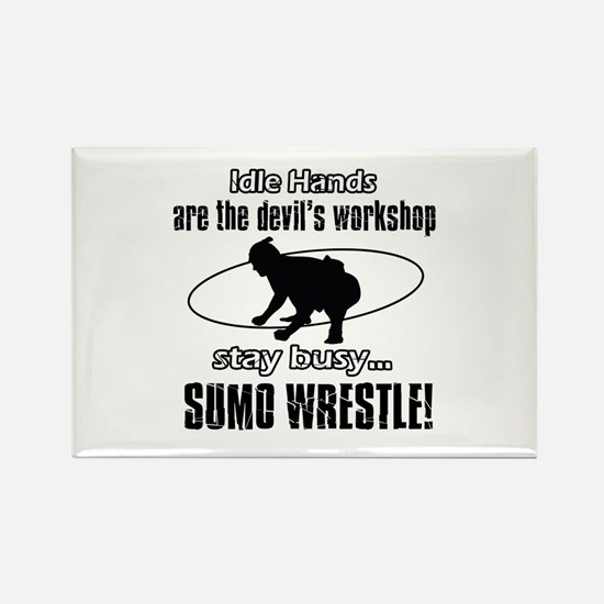 Stay Busy Sumo Wrestle Rectangle Magnet