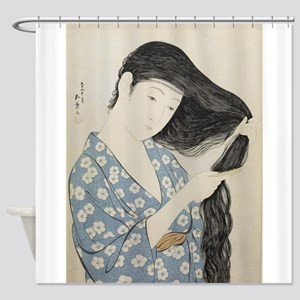 Hashiguchi Goyo - Woman in Blue Com Shower Curtain