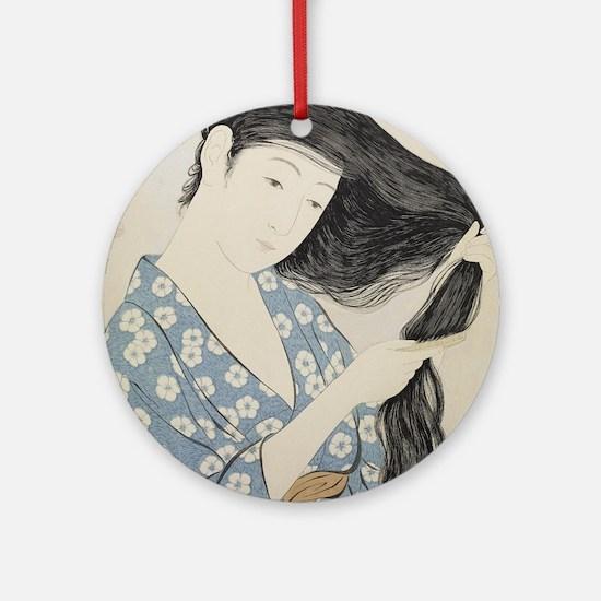 Hashiguchi Goyo - Woman in Blue Com Round Ornament