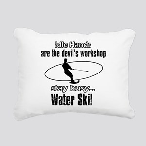 Stay Busy Water Ski Rectangular Canvas Pillow