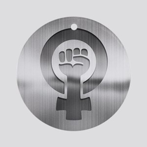Feminist Fist Metal Round Ornament