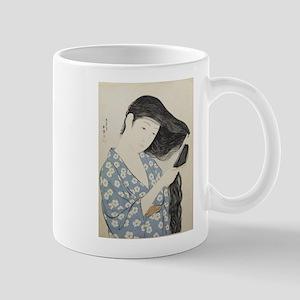 Hashiguchi Goyo - Woman in Blue Combing Her H Mugs