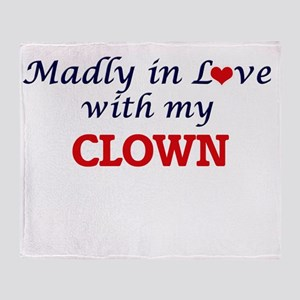 Madly in love with my Clown Throw Blanket