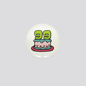 99th Birthday Cake Mini Button