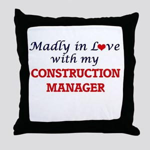 Madly in love with my Construction Ma Throw Pillow