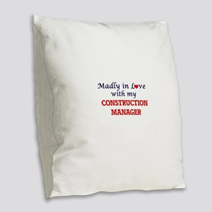 Madly in love with my Construc Burlap Throw Pillow